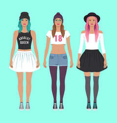 cute hipster girls vector image vector image