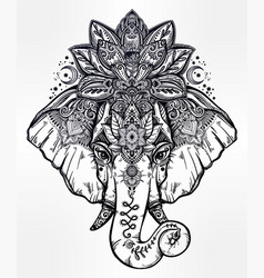 decorative elephant with lotus mandala crown vector image vector image