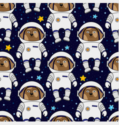 dog astronaut and stars in space seamless pattern vector image vector image