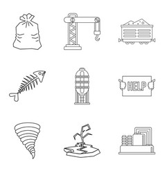 Enviroment protection icons set outline style vector