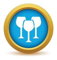 Gold stemware icon vector