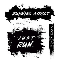grunge motivational poster running vector image vector image