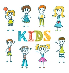 Hand drawn cute little kids collection of cartoon vector
