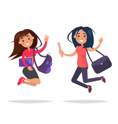 jumping girls with books and bags vector image