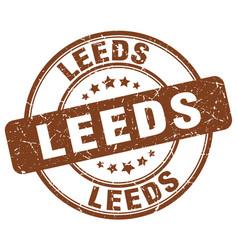 Leeds brown grunge round vintage rubber stamp vector