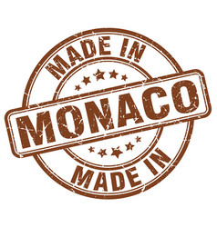 Made in monaco brown grunge round stamp vector