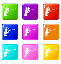 Magician hand with a magic wand set 9 vector