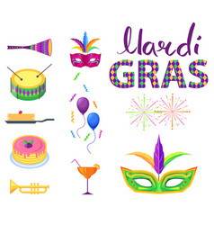 mardi gras poster with colorful carnival symbols vector image vector image