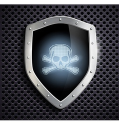 Metal shield with a skull and crossbones vector