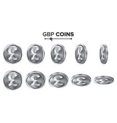 Money gbp 3d silver coins set realistic vector