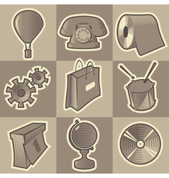 Monochrome miscellaneous icons vector image