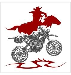 Motocross moto and horse - emblem vector
