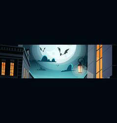 Night city with bats in sky happy halloween party vector
