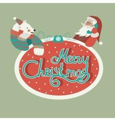 Polar bear and santa claus talking by phone vector