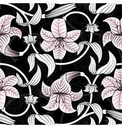 Seamless pattern with lilies on black background vector image