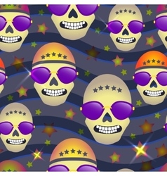 Seamless pattern with skulls on star background vector