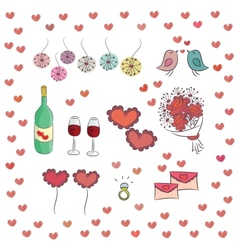 Set of elements for st Valentines day vector image
