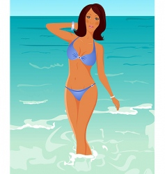 suntanned girl vector image