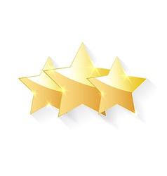 Three gold stars with shadow effect vector