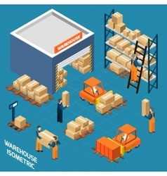 Warehouse Isometric Icons Concept vector image vector image