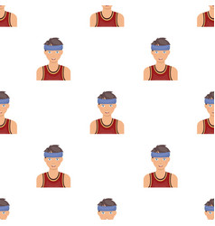 Young basketball playerbasketball pattern icon in vector