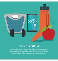 Weight smartphone bottle icon healthy lifestyle vector