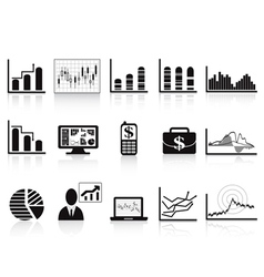 Black business charts icon vector