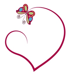 Heart with butterfly vector