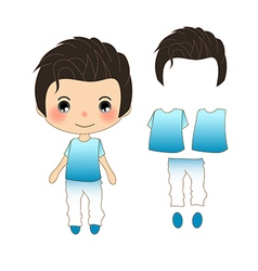 Handsome man in blue shirt vector