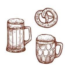 beer pub mugs and pretzel snack sketch vector image