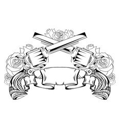 Contour drawing of two revolvers roses and scroll vector