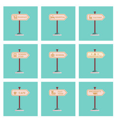 Assembly flat icons university kindergarten vector