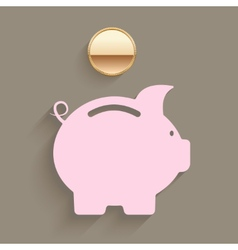 Pink piggy bank with a gold coin vector