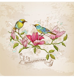Vintage Card - Flowers and Birds vector image