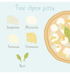 Four cheese pizza ingredients vector