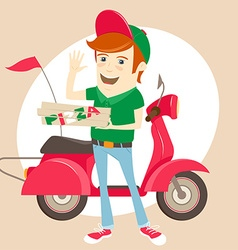 Funny pizza delivery boy in front of red motor vector