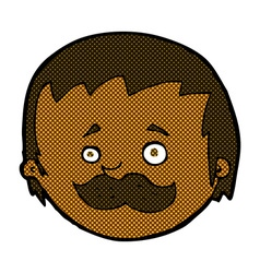 Comic cartoon man with mustache vector
