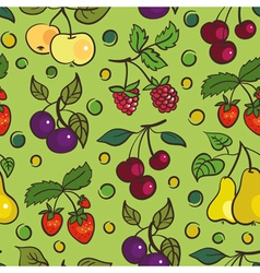 Seamless pattern of fruits and berries vector