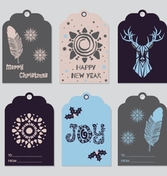 Gift tags set with deer feather snowflake vector