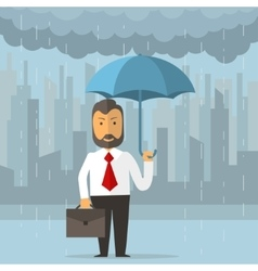 Businessman holding an umbrella vector image vector image