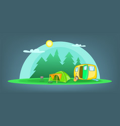 Camping horizontal banner objects cartoon style vector