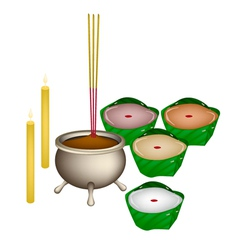 Chinese pudding or nian for new year worship vector