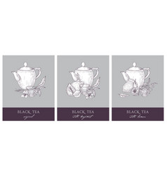 Collection of beautiful labels with teapot cup vector