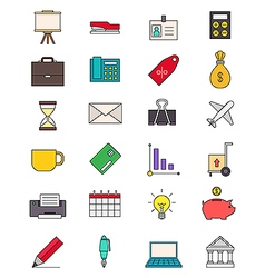 Color business icons set vector image