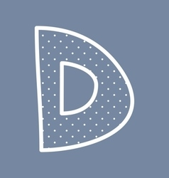 D alphabet letter with white polka dots on blue vector image