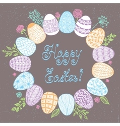 Easter wreath with easter eggs - vector image vector image
