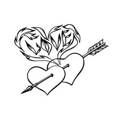 flaming hearts heart pierced by an arrow vector image