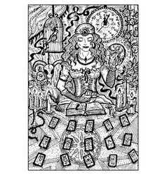 fortune teller with tarot cards engraved vector image vector image