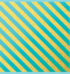 Gold glittering lines pattern on mint vector
