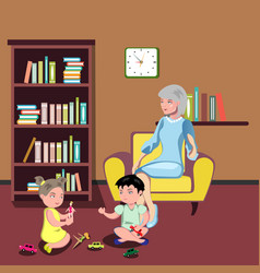 Grandmother sitting in chair with kids vector